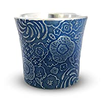 大阪錫器 時尚 錫 日本酒 冷酒 吞酒 藍色 φ5×H4.6cm 65cc 舞花 (瑪瑙) 藍色
