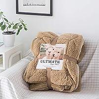 婉寇 简约纯色羊羔绒毛毯 法兰绒盖毯单人双人办公室小盖毯毛巾毯OB (卡其色, 单人款150*200cm-3.2斤)