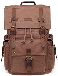 BLUBOON 帆布复古背包皮革装饰休闲书包 男式女式笔记本电脑旅行背包