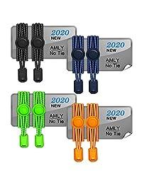 AMLY 4 双弹性无系带鞋带,*锁,反光鞋带,适合儿童和成人