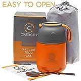 Energify 真空绝缘不锈钢食品罐 - 适用于热/冷食 - 无忧,食品级 - 适合成人或儿童保温罐或汤器 - 带可折叠勺和袋 橙色 15,2 Ounce 1E-27M4-UI2L