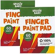 Veggie Baby Art 纸板,2件装,适用于手指绘画,绘画和着色,60张,儿童和幼儿的多媒体涂料,未打蜡,适用于蜡笔和项目