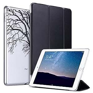 ULAK iPad 2017 iPad 9.7 英寸保护套,超薄轻质智能保护套三折支架,带自动休眠/唤醒功能,超细纤维衬里,硬背透明保护套,适用于苹果 iPad 9.7 英寸* 5 代 多色