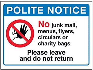 VSafety DP066AL-W Polite Notice: No Chunk Mail or Charity Bags 盾牌,150 mm x 100 mm