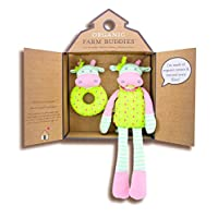 Organic Farm Buddies毛绒玩具和摇铃礼物套装 Belle Cow