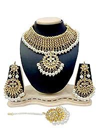 皇冠珠宝宝莱坞风格颈链首饰印度新娘派对项链耳环套装 白色