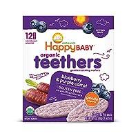 Happy Baby 禧貝 寶寶溫和磨牙餅干 藍莓葡萄胡蘿卜 出牙期寶寶的易溶解米餅 無麩質 12個裝 6包
