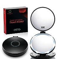 Rejuvenate Care 放大旅行化妆镜,带高清 LED 照明 1X/10X(放大)轻质便携 E-Z 使用