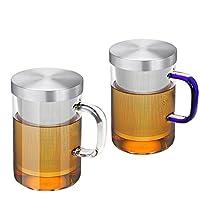 【三种颜色随机发货】【两只装】AlfunBel艾芳贝儿茶具高硼硅耐热玻璃杯304不锈钢内胆杯个人冲泡器花茶杯【小贝荐宝0218】