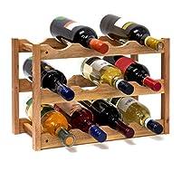 relaxdays 10019279*架小号28 x 42 x 21厘米木质瓶架带三层适用于12瓶*小*瓶支架制成核桃油润可供水平储存, 当然