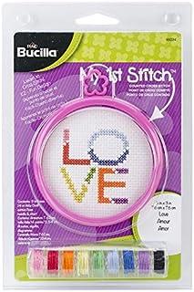 Bucilla 46034 My 1st Stitch 14 Count 3-Inch Love Counted Cross Stitch Kit, Mini