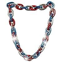 ArtCreativity Light-Up Chunky 项链,大号 38 英寸项链,7 月 4 日独立日女士、男士和儿童配饰,红色、白色和蓝色纪念日和独立日装饰