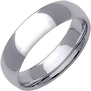 GEMINI 圆顶款式银色实心钛合金夫妻周年婚戒 6mm