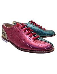 Bowlerstore 女式经典精英租借保龄球鞋,美国 8 1/2 M 码,红色/青色/棕褐色