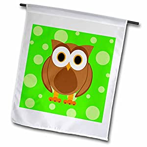 Janna Salak Designs 林地生物 - 亮*背景上的可爱棕色猫头鹰 - 旗帜 12 x 18 inch Garden Flag fl_6311_1