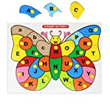 EXPLEARN 木制字母 A-Z 字母拼图 - 蝴蝶带旋钮-匹配大写字母小写字母 - 儿童教育玩具