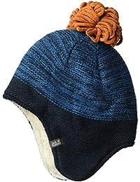 Jack Wolfskin 雪花儿童针织帽,带毛球和耳朵保护帽