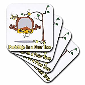 3dRose cst_104276_1 Partridge in A Pear Tree-Soft Coasters, Set of 4