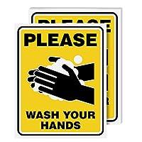 请洗手标志层压海报 - *和* - 非常适合家庭、学校、官员和公共空间| 耐热、防水、防潮| 20.32 x 25.4 厘米 | 每包 5 个 黄色 8  x 10  Inch