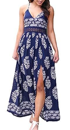 女式 V 领无袖颈部系带开叉波西米亚印花长裙连衣裙 蓝色 M