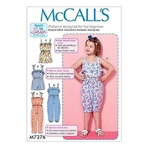 McCalls 缝纫图案 M7376 儿童/女孩宽松上衣连身衣和连身裤 多色 CL (6-7-8) M7376CL0