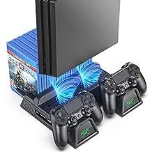 OIVO 常规 PS4/ PS4 超薄/PS4 专业冷却器,多功能垂直冷却支架,PS4 控制器充电器带 LED 指示灯,充电基座站,带 12 件游戏存储,适用于 PS4 超薄,PS4 Pro