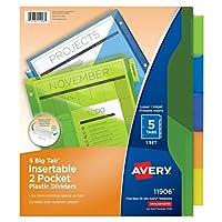Avery 大 TAB 版插入式双袋塑料个分隔器5多色标签1套11906