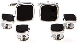 MRCUFF 黑色缟玛瑙方形正式燕尾服袖扣和铆钉套装,礼盒和抛光布