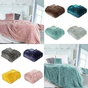 Eurofirany 绒毛毯,沙发毯,沙发毯,客厅毯,毛毯,被子,毛毯,毛毯,床罩,绒毛,被子,人造毛皮,被子,Lettie。 钢 200x220 cm 204594