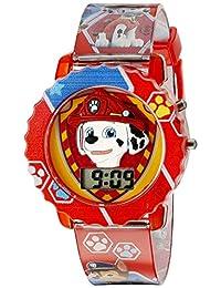 Paw Patrol 狗狗巡邏隊兒童數字手表帶紅色保護殼,舒適紅帶,方便搭扣 - 表盤上官方 3D 狗狗巡邏隊人物,兒童* - 型號:PAW4016