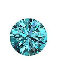 散装莫桑石 稀有3.14 克拉 9.95 毫米 花式蓝色 VVS2 圆形明亮式切割