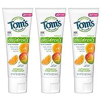 Tom's of Maine 防龋齿儿童牙膏,天然牙膏,橙子芒果味,5.1盎司/144克,3件装