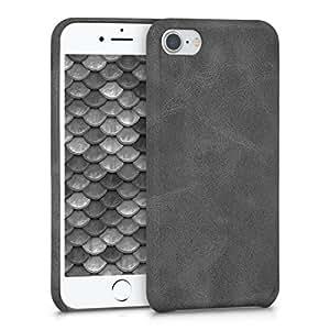 kwmobile 苹果 iPhone 7/8 手机壳 - 柔软耐用防震高级 PU 皮革智能手机后盖 - 米色40155.17_m000588 synthetic leather dark grey