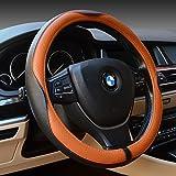 亿达 专车专用汽车真皮把套 奥迪A4L/A6L/Q5/Q7/Q3 汽车把套 宝马1系/3系/5系/7系/X3/X5/X6 汽车把套 奔驰/ML/GLK300 E级/C级/S级 真皮汽车方向盘套  运动时尚款头层牛皮 汽车方向盘套 (黑红色)