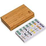 Yellow Mountain 进口双 6 多米诺牌,带彩色数字竹制盒