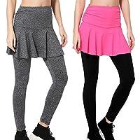 Wantdo 女式 健身房 裙子 紧身裤 四条 弹性塑形 臀部 聚拢瑜伽裤