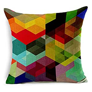 SUSYBAO 豪华优质棉麻方形装饰抱枕枕套 1 件 适用于 45.72 x 45.72 厘米枕芯沙发家居汽车沙发套 风格 11 18x18 SZJRQC20170413Z96