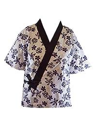 中号,寿司厨师夹克日本厨师制服,带黑色头带 Flower on White