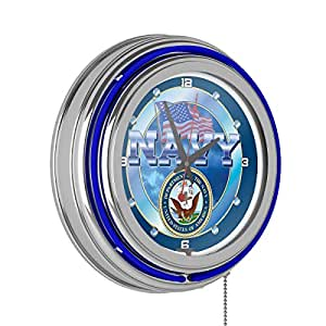 """United States Navy Chrome Double Ring Neon Clock, 14"""""""
