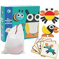 致暖Warmest 儿童拼图 智力七巧板 女孩男孩 创意拼板 宝宝 蒙氏早教 环保木质益智玩具 2-3-4岁 儿童节礼物 趣味拼图 动物图形