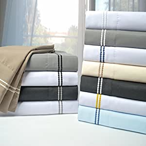LUXOR TREASURES Super Soft, Light Weight, 100% Brushed Microfiber, Wrinkle Resistant, 6-Piece Sheet Set, Embroidery in Gift Box(2-Line) 灰色/白色 两个 XL