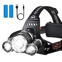 可充电头灯,LED 手电筒,12000 流明明亮 CREE LED,防水头灯,适用于儿童和成人,可调节,适用于野营骑行、跑步、钓鱼的硬帽子