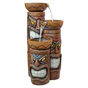 Design Toscano Cascading Aloha Tiki 3-Bowl Garden Outdoor Fountain wood tone