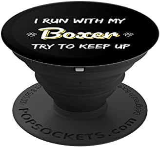 I Run With My Boxer Funny Boxer Dog Running PopSockets 手机和平板电脑抓握支架260027  黑色