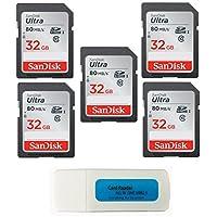 SanDisk Ultra - 5 件装 UHS-I Class 10 SD 闪存卡 零售卡 (SDSDUNC) - 包括一切但Stromboli (TM) 组合读卡器SDSDUNC-032G-GN6IN-5PK-R6