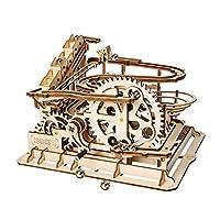 DIY 3D 木制拼图激光切割机械大理石四轴/大理石赛模型套件,优质木材,**。 STEM Project *大理石跑步模型套件 Waterwheel Coaster 0