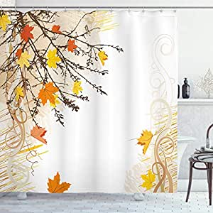 Nature Shower Curtain by Ambesonne, Autumn Maple Leaves Branches in Fall Earthen Tones Faded Woodland Art Print, Fabric Bathroom Decor Set with Hooks, 84 Inches Extra Long, Tan Yellow Orange