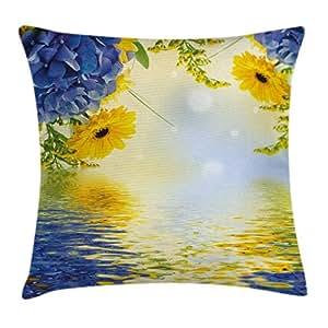 黄色和蓝色抱枕靠垫套 ambesonne 浪漫花束 OF 绣球和 asters ON WATER 背景装饰方形 Accent 枕套紫罗兰色蓝色地球黄色