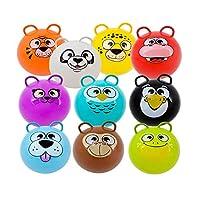 Mozlly Wild 动物园动物充气跳球,50.8 厘米坐和骑跳跳跳跃蹦跳跳跳跳跃玩具带把手,适合儿童室内户外锻炼派对喜爱游戏,只 1 只装颜色随机