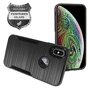 Eaglecell - Apple iPhone Xs Max(6.5 英寸)-拉丝混合保护套 + 钢化玻璃屏幕保护膜 ZY3 Black